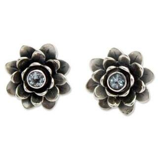Handmade Sterling Silver 'Blue-eyed Lotus' Blue Topaz Earrings (Indonesia)