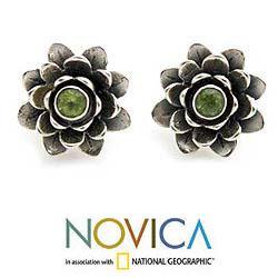 Handmade Sterling Silver 'Green-eyed Lotus' Peridot Flower Earrings (Indonesia) - Thumbnail 1
