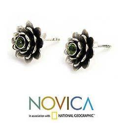 Handmade Sterling Silver 'Green-eyed Lotus' Peridot Flower Earrings (Indonesia) - Thumbnail 2