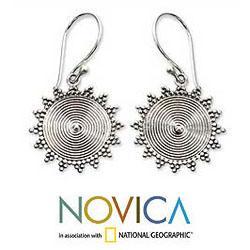 Sterling Silver 'Purnama Sun' Dangle Earrings (Indonesia)
