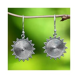 Handmade Sterling Silver 'Purnama Sun' Dangle Earrings (Indonesia)