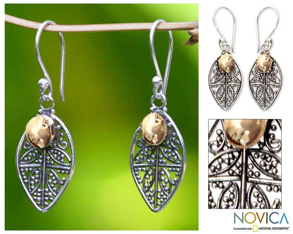 Sterling Silver 'Golden Dew' Filigree Earrings (Indonesia)
