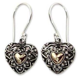 Handmade Sterling Silver 'Sweetheart' Heart Earrings (Indonesia)
