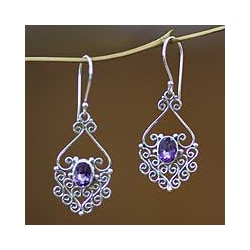 Sterling Silver 'Bali Dynasty' Amethyst Filigree Earrings (Indonesia)