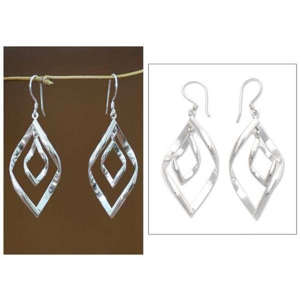 Handmade Sterling Silver 'Infinite Dance' Dangle Earrings (Indonesia)
