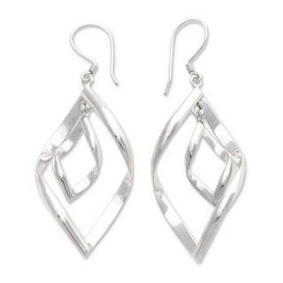Handmade Sterling Silver 'Infinite Dance' Dangle Earrings (Indonesia)
