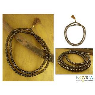 Handmade Smoky Quartz 'Pray' Jap Mala Prayer Beads Necklace (India)