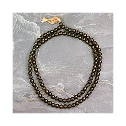 Smoky Quartz 'Pray' Jap Mala Prayer Beads Necklace (India)