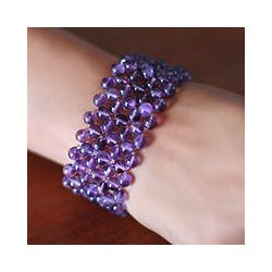 Amethyst 'Mystical Muse' Stretch Bracelet (India)