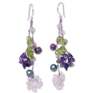 Handmade Sterling Silver 'Symphony' Pearl Amethyst Earrings (5-6.5 mm) (Thailand)