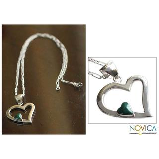 Handmade Sterling Silver 'Secret Love' Chrysocolla Heart Necklace (Peru)