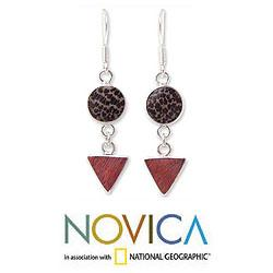 Sterling Silver 'Geometry' Coconut and Mango Wood Earrings (Thailand) - Thumbnail 1
