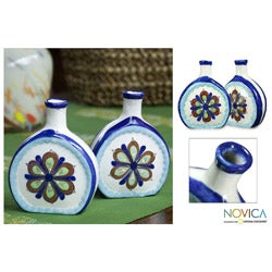 Set of 2 Ceramic 'San Antonio Blossom' Vases (Guatemala)