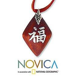 Handmade Sterling Silver 'Good Fortune' Wood Wrap Necklace (Indonesia)