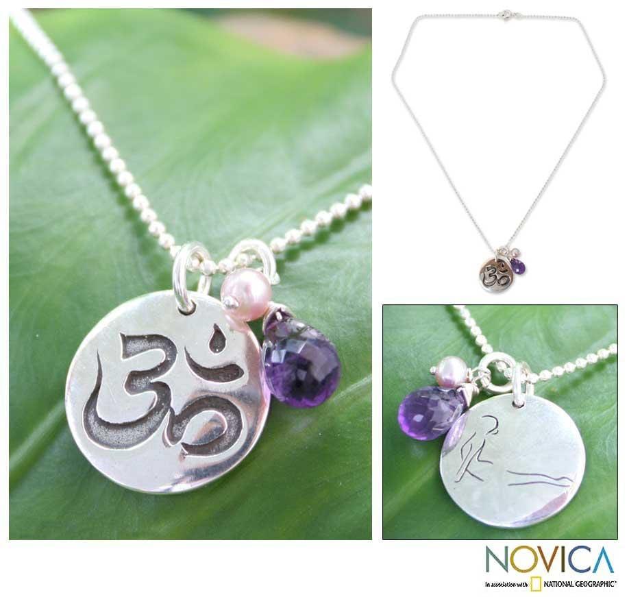Sterling Silver 'Yoga Cobra' Pearl Amethyst Necklace (5 mm) (Thailand)
