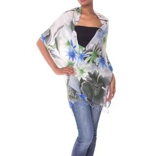 Handmade Silk 'Festive Flowers' Batik Shawl (Indonesia)