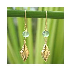 Handmade Goldplated Silver 'Seashell' Prasiolite Earrings (Thailand)