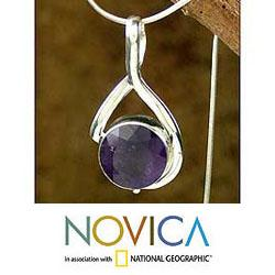 Sterling Silver 'Myths' Amethyst Necklace (India)