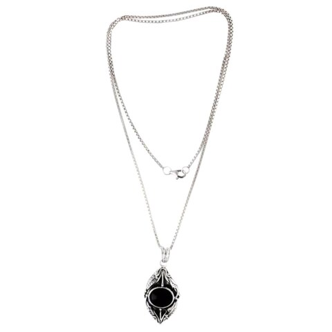 Handmade Nest of Lilies Flower Theme Black Onyx and 925 Sterling Silver Womens Long Pendant Necklace (Indones