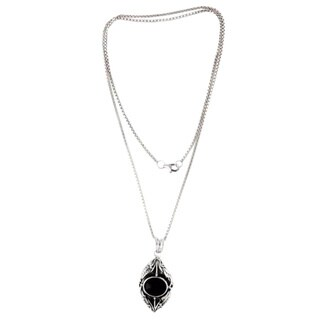 "Handmade Nest of Lilies Flower Theme Black Onyx and 925 Sterling Silver Womens Long Pendant Necklace (Indones - 0.7""x1.4"""