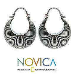 Sterling Silver 'Hypnotic Moon' Hoop Earrings (Indonesia)