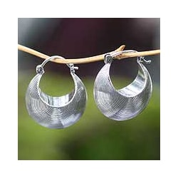 Sterling Silver 'Hypnotic Moon' Hoop Earrings (Indonesia)