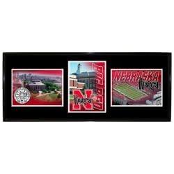 Nebraska Cornhuskers Metal Wall Hanging Framed Triple Shot Logo