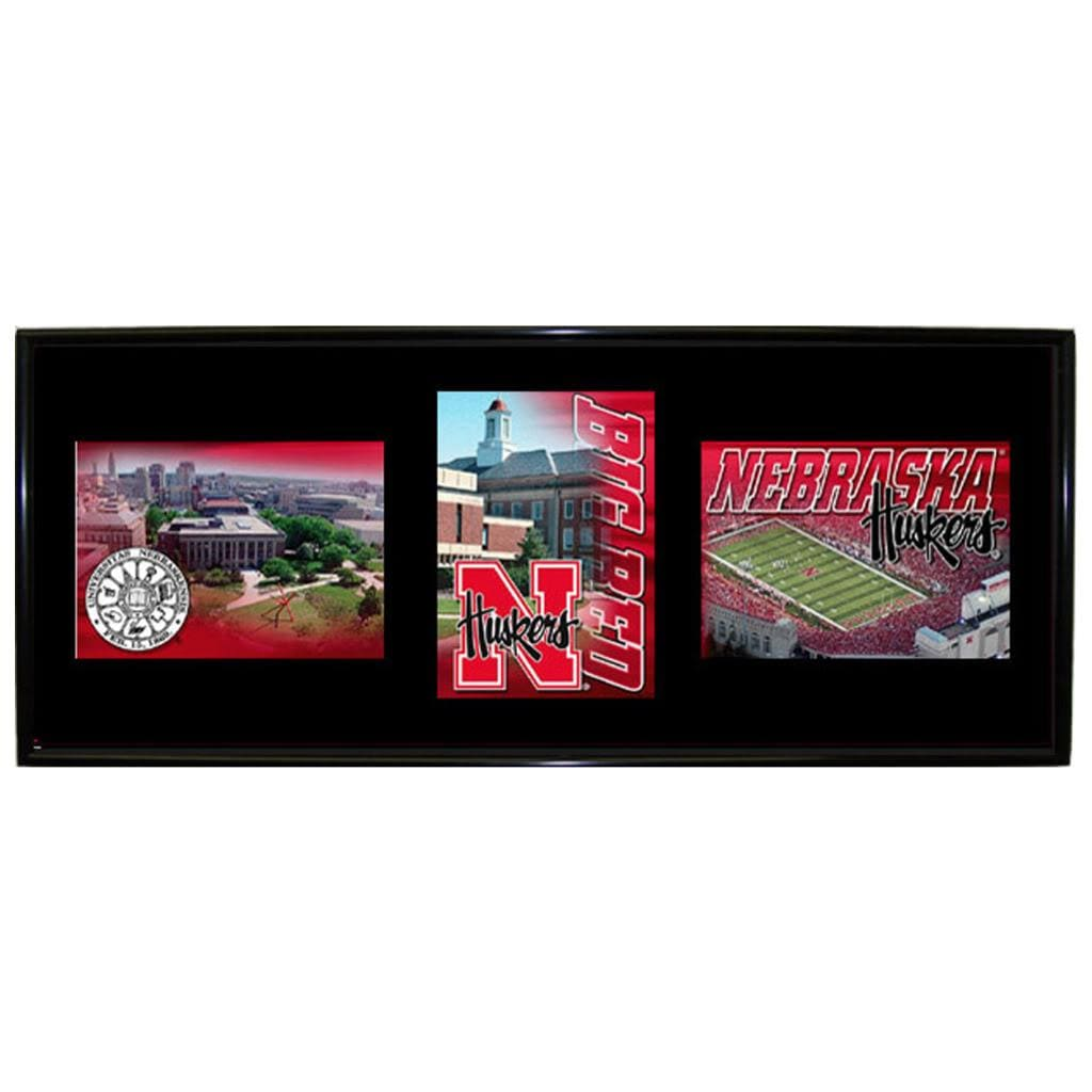 Nebraska Cornhuskers Mylar Wall Hanging Framed Triple Shot Logo