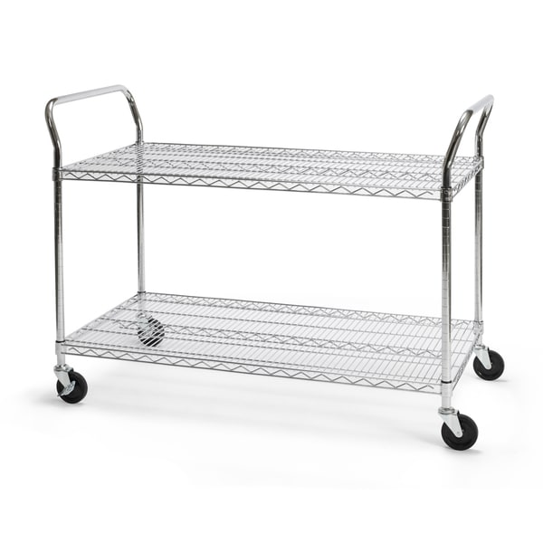 """OFM Core Collection X5 Series Heavy Duty 24"""" X 48"""" Mobile Utility Cart, in Silver (SHCART2448) - 24x48"""