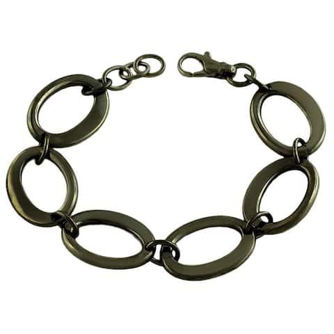Fremada Black Rhodiumplated Sterling Silver Fancy Oval Link Bracelet