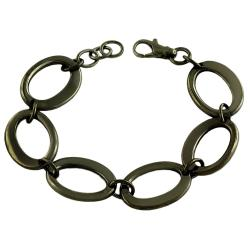 Fremada Black Rhodiumplated Sterling Silver Fancy Oval Link Bracelet