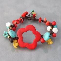 Cotton Rope Red Flower Multi-gemstone Bracelet (Thailand)