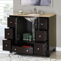 Silkroad Exclusive 40-inch Single Sink Cabinet Bathroom Vanity - Thumbnail 1