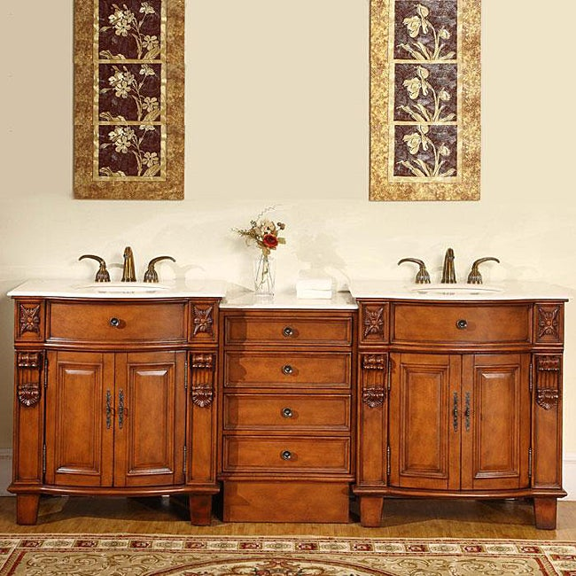 Silkroad Exclusive 84 Inch Double Sink Cabinet Bathroom Vanity Free Shippin