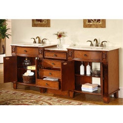 Shop Silkroad Exclusive 84 Inch Double Sink Cabinet