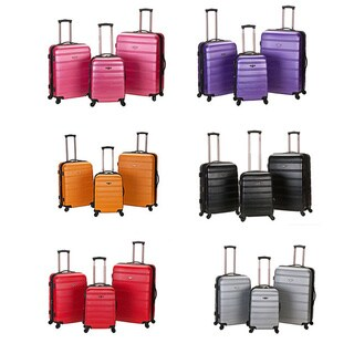 Rockland Melbourne ABS 3-piece Expandable Hardside Spinner Luggage Set