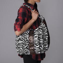 Journee Collection Ruffled Zebra Print Hobo Bag - Thumbnail 2
