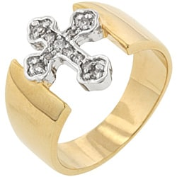 Kate Bissett Two-tone Cubic Zirconia Cross Ring - Thumbnail 1