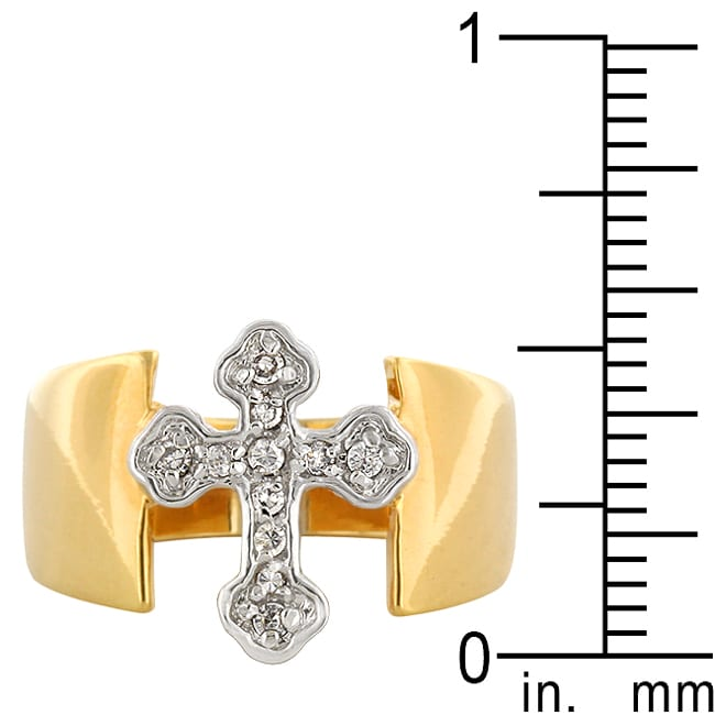 Kate Bissett Two-tone Cubic Zirconia Cross Ring - Thumbnail 2