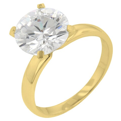 Kate Bissett Gold over Silver Cubic Zirconia Solitaire Cocktail Ring