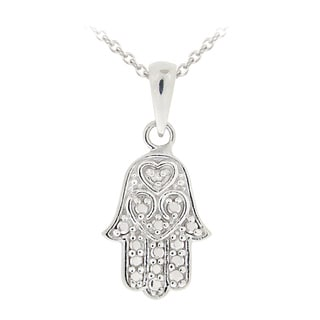 DB Designs Sterling Silver Diamond Accent Hamsa Hand Necklace