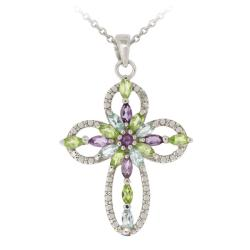 Glitzy Rocks Silver Multi-gemstone and Diamond Cross Necklace