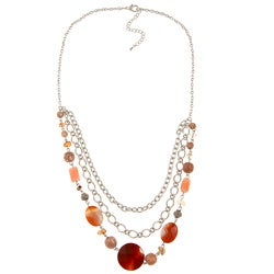 Alexa Starr Silvertone Striped Red Agate and Multi-gemstone Bib Necklace
