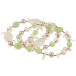 Alexa Starr Three-strand Rose Quartz Stretch Bracelet