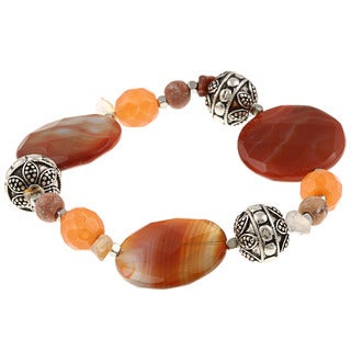 Alexa Starr Silvertone Striped Red Agate and Carnelian Stretch Bracelet