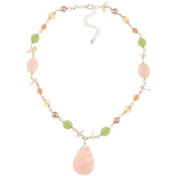 Alexa Starr Rose Quartz and Shell Necklace