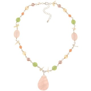 Rose Quartz and Shell Necklace - Pink