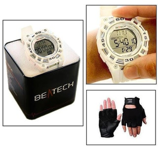 Beatech Heart Rate Monitor White Watch and Black Leather Glove Set