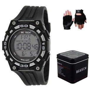 Beatech Black Heart Rate Monitor Watch and Leather Glove Set