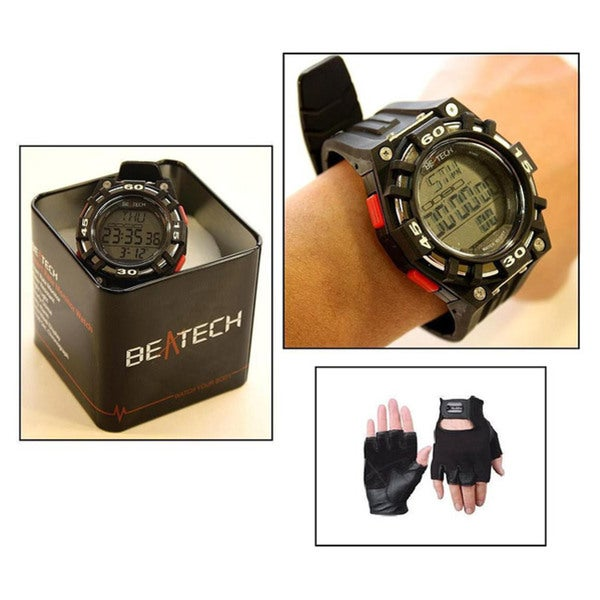 Beatech Heart Rate Monitor Black Watch and Leather Glove Set